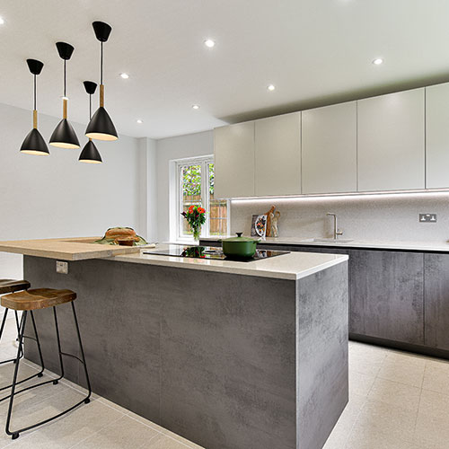 Handleless Concrete Effect kitchen (Storrington)