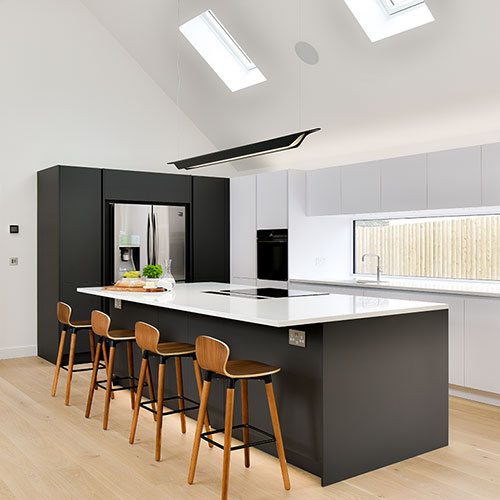 Sleek minimalist grey & white kitchen (Worthing)